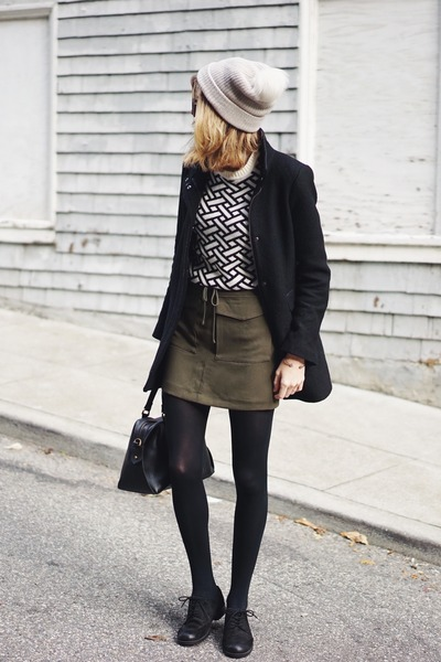 white Forever 21 sweater - olive green Forever 21 skirt