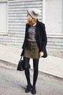 White-forever-21-sweater-olive-green-forever-21-skirt