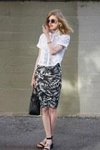white Topshop top - black madewell bag - dark green Forever 21 skirt