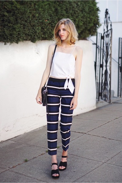 navy Express pants - white Express top