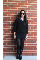 dark gray ankle boots - turquoise blue vintage shirt - Miss Shop sunglasses