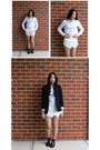 White-shirt-shirt-boots-white-skort-seams-theory-shorts