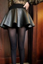 Short Black Leather Skirt with shorts
