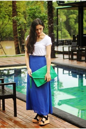 blue sheer Seams Theory skirt - green envelope clutch Seams Theory bag