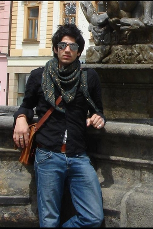 silver sunglasses - green scarf - black shirt - brown belt - blue jeans - brown 