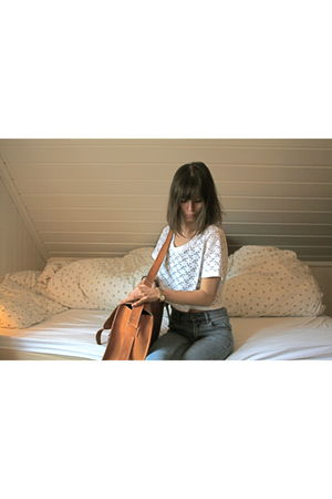 white Monki blouse - blue Cheap Monday jeans - brown vintage purse
