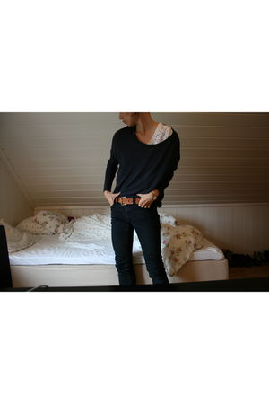 black Nudie Jeans jeans - white Monki blouse - brown vintage belt - gray H&M swe