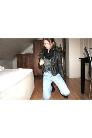 blue Cheap Monday jeans - silver Secondhand sweater - black H&M jacket - black H