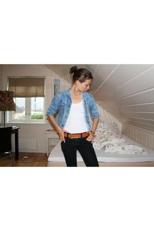 blue vintage jacket - black Nudie Jeans jeans - white Cubus top - brown vintage