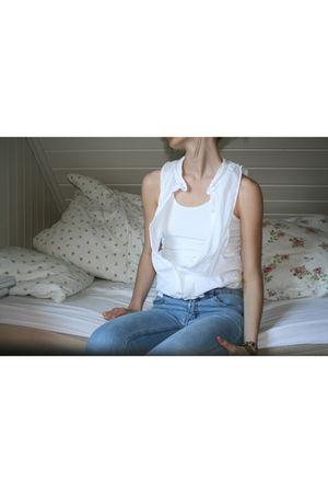 blue Cheap Monday jeans - white DIY shirt - vintage bracelet - brown vintage boo