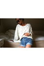 White-american-apparel-sweater-blue-vintage-levis-urban-outfitters-shorts-bl