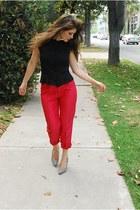 thrifted vintage vest - thrifted vintage pants - grey ultraseude f21 heels