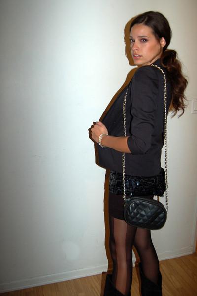 slv blazer - vintage blouse - Chanel purse - f21 tights