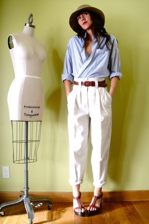 white vintage pants - blue vintage shirt - yellow vintage hat