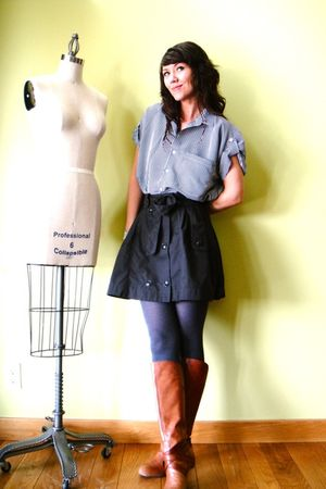 blue vintage blouse - gray H&M skirt - orange Miss Sixty boots