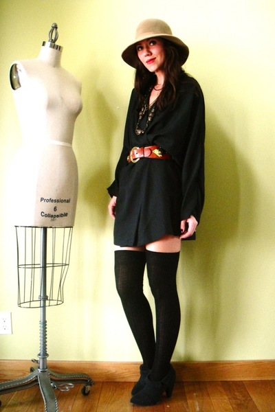 yellow vintage hat - black Urban Outfitters boots - black vintage dress