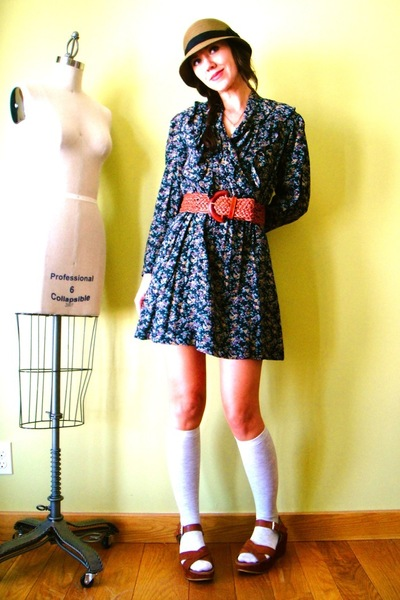 brown Urban Outfitters hat - gray vintage dress - gray JCrew socks - brown vinta
