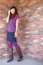 vintage skirt - American Apparel scarf - American Apparel skirt - tights - vinta