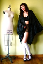 black vintage cardigan - brown vintage shorts