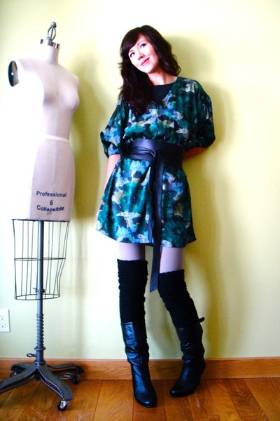 black socks - black Steve Madden boots - green reformed dress - silver American