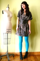 blue welovecolorscom tights - black Taget boots - gray vintage dress - black Urb