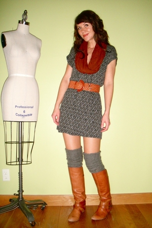 gray Urban Outfitters dress - orange Miss Sixty boots - gray calvin klein socks 