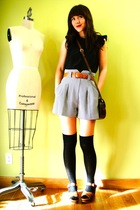 gray vintage shorts - black vintage blouse - black JCrew socks - brown vintage s