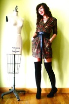 gray vintage dress - black JCrew socks - black Target shoes - black vintage belt