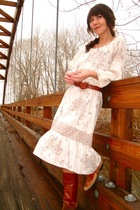white vintage dress - brown vintage boots