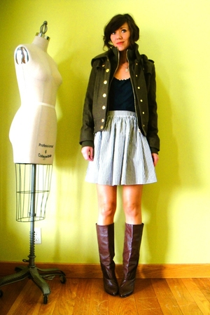 BDG jacket - American Apparel shirt - American Apparel skirt - vintage boots