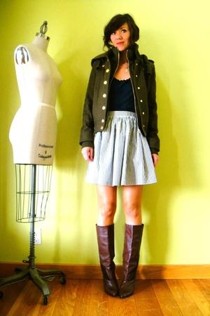 BDG jacket - American Apparel shirt - American Apparel skirt - vintage boots