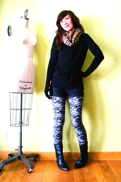 gray unsure leggings - black vintage boots - black vintage shorts - orange Burbe