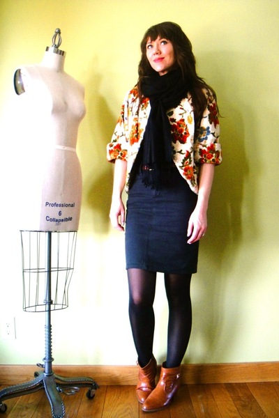 orange vintage coat - orange vintage boots - gray American Apparel skirt