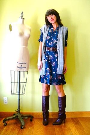 vintage vest - vintage dress - vintage belt