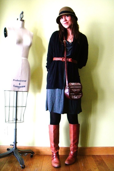 gray unknown dress - black JCrew cardigan - orange Miss Sixty boots