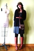 gray unknown dress - black JCrew cardigan - orange Miss Sixty boots