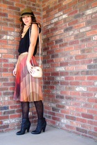 beige wool pleats vintage skirt - black booties Target boots