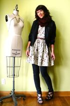 gray Old Navy shoes - white tailor made dress - black Members Only jacket