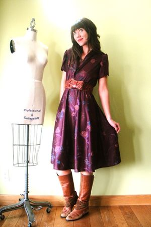 purple vintage dress - brown vintage boots - brown vintage belt