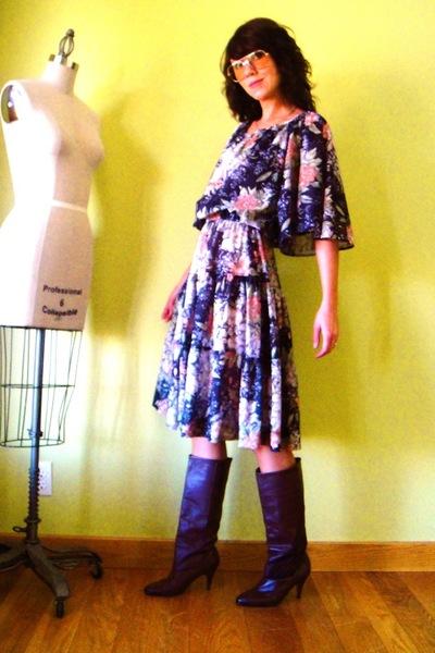 dress - glasses - boots