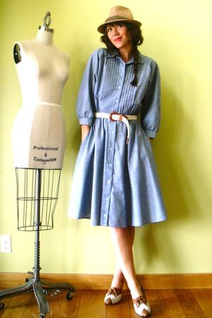 brown vintage shoes - blue vintage dress - yellow vintage coat