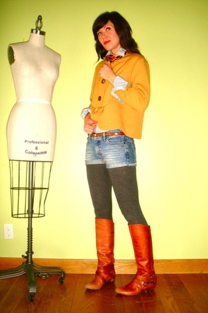 orange vintage blazer - gray Target leggings - blue American Eagle shorts - oran