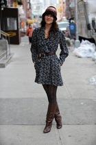 gray vintage dress - vintage boots - brown vintage hat - gold clydes rebirth acc
