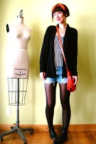 orange vintage scarf - black JCrew cardigan - beige American Apparel shirt