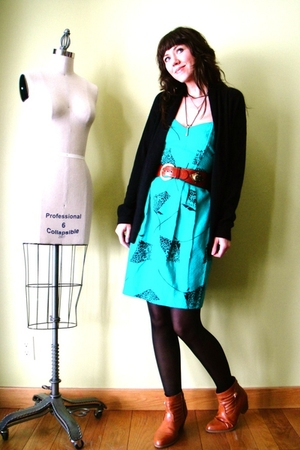 blue vintage dress - black JCrew cardigan
