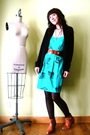 Blue-vintage-dress-black-jcrew-cardigan
