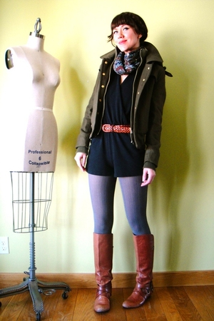 green BDG coat - orange Miss Sixty boots - gray JCrew tights - black American Ap