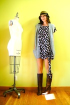 black floral vintage dress - brown vintage boots - brown cloche UO hat