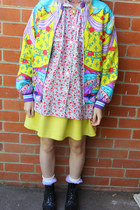 yellow asos skirt - black Dr Martens boots - red romance was born jacket