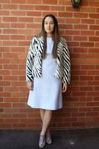 white Topshop jacket - light blue vintage dress - black Nicholas Kirkwood heels